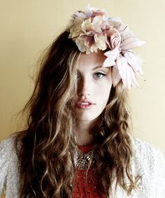 Image of Wedding GYPSY BRIDE Large Art DEco floral silk garland headband