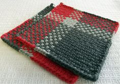 Pair of LARGE Handmade WOVEN Potholders HOTPADS ~ Salmon & 2 Shades of Gray ~