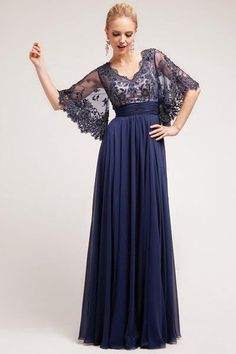 17-3095 PRIMA Lace Chiffon Bell Sleeve Mother of Bride Dress Evening Gown Stunning evening gown with a lace top and romantic BOHO chic bell or kimono sleeves. This would make a great Mother of the Bri
