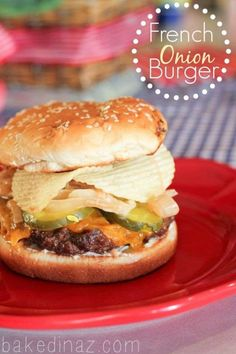 Crunchy potato chips give this soft and juicy burger some texture. Get the recipe from Baked in Ariz. - Courtesy of Baked in Arizona Best Burger Recipe, Turkey Burger Recipes, Hamburger Recipes, Sandwich Recipes, Amazing Burger, Good Burger, Burger Dogs, Burger Bar, Onion Burger