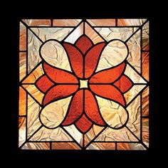 "This Victorian stained glass pattern is one of my favourites due to both design and glass. Spectrum Cinnamon Baroque in the outside border. Pilkington Autumn, a beautiful architectural glass with a pressed texture of leaves, in the background. • 13.5"" x 13.5"" • 49 pieces • level of difficulty beginner-intermediate • materials list and colour photo included • grinder required Download the pattern PDF after purchase!"