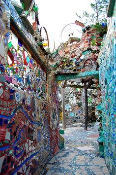 Philedelphia's Magic Garden. Established by Isaiah Zagar in a vacant city lot; it has grown to cover an entire block