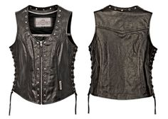 Milwaukee Motorcycle Clothing Company Front Zip Ladies Vest with Studs and O Rings Lace Sides listed under 53. Def Planet