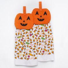 Halloween Pumpkin 2-pc. Tie-Top Kitchen Towel Set