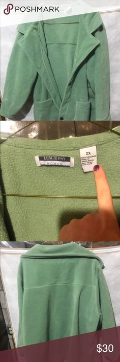 Leslie Fay Coat Fuzzy material, lime green color. Good condition. Leslie Fay Jackets & Coats Pea Coats