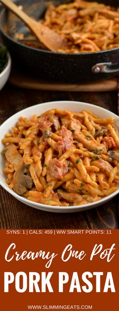 Creamy One Pot Pork Pasta - one of the easiest and tastiest pasta dishes all cooked in one pot with just a few simple ingredients. Slimming World and Weight Watchers friendly Easy Pasta Recipes, Easy Meals, Dinner Recipes, Cooking Recipes, Healthy Recipes, Savoury Recipes, Dinner Ideas, Pasta Ideas, Healthy Meals