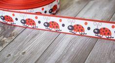 "Ladybug ribbon 7/8""- printed grosgrain ribbon - red white black - Ribbon for crafting - DIY lady bug bow - Crafting supplies"