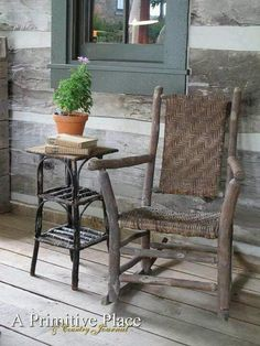 Nice weathered look, Old Hickory (rustic windows and doors log cabins) Willow Furniture, Fairy Furniture, Dollhouse Furniture, Rustic Furniture, Hickory Furniture, Raw Furniture, Rustic Windows And Doors, Diy Storage Table, Log Home Decorating