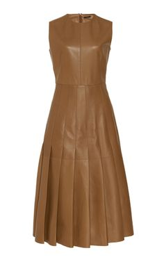Demry Pleated Lambskin Dress by Joseph Leather Midi Dress, Velvet Gown, Lela Rose, Designer Dresses, Designer Clothing, Ladies Dress Design, Designing Women, Silk Dress, Fashion Outfits