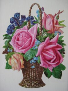 Victorian Cottage Roses in Wicker Basket