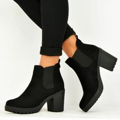 bf3d47c10b3 Women s Black Chelsea Boots Suede Round Toe Chunky Heels Ankle Boots. FSJ  shoes. december 2016 week 1 b cucu fashion new ...