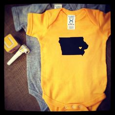 Iowa Hawkeyes Hawk Heart Baby Onesie/Creeper  by bleucollarpaperie, $20.00