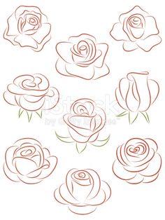Ensemble de roses. illustration vectorielle.