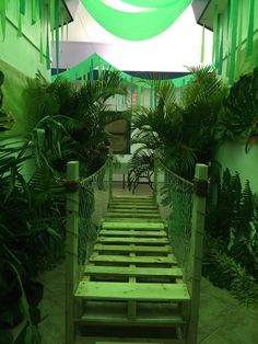 One of 2 finished bridges and entrance to our rainforest Bridge for a river. Deco Jungle, Jungle Party, Safari Party, Safari Theme, Jungle Safari, Jungle Theme, Jungle Decorations, Rumble In The Jungle, Rainforest Theme