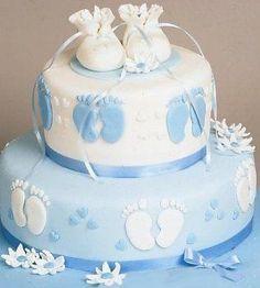 Tarta de cumple decorada con piés de bebé - ツ Imagenes para Cumpleaños ツ
