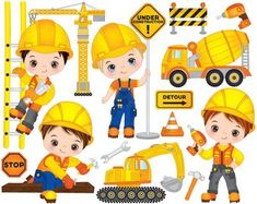 ITEM: Construction Boys Clipart - Vector Construction Clipart, Boys Clipart, Construction Kids Clipart, Kids Clipart, Construction Boys Clip Art for Personal and Commercial. Construction For Kids, Construction Birthday, Construction Images, Construction Worker, Clipart Kid, Clip Art, Mermaid Clipart, Cute Little Boys, Vector File