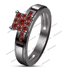 14Kt Black Gold Finish 5/8 CTW  Red Garnet 4 Prong Channel Set Engagement Ring #br925 #HaloEngagmentRing