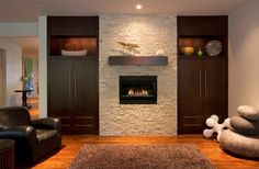 Fireplace Ideas With Stone / Tiles / River Rock / Brick - Modern Style Brick Fireplace Remodel, Modern Fireplace, Fireplace Wall, Fireplace Ideas, Feature Wall Design, Beautiful Living Rooms, Cozy House, Home Builders, Living Room Designs