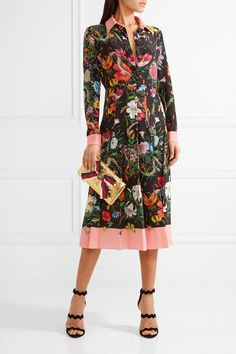 33988a32b5b Gucci - Pleated printed silk crepe de chine dress
