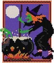 Witch's Brew by Sigrid Wynne-Evans Pony Bead Patterns, Peyote Patterns, Beading Patterns, Cross Stitch Patterns, Halloween Patterns, Halloween Projects, Halloween Design, Plastic Canvas Coasters, Plastic Canvas Patterns