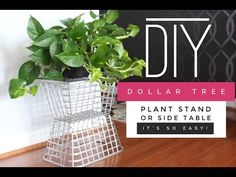 DIY Dollar Tree Side Table/Plant Stand [d]A must see! Learn how to make a side table or plant stand using Dollar Tree supplies. It's super easy! Plus, budget-friendly. Dollar Tree Baskets, Dollar Tree Decor, Dollar Tree Crafts, Cultural Care, Cardboard Tree, Cardboard Boxes, Rattan, Look Rose, Diy Plant Stand