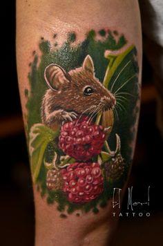 mouse on raspberries tattoo