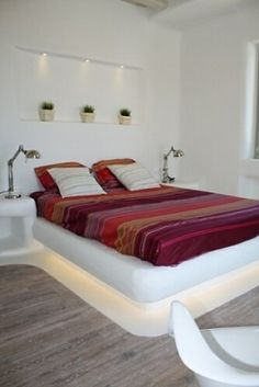 bedroom @  sea view villa on the Mykonos Island, Cyclades, Greece.