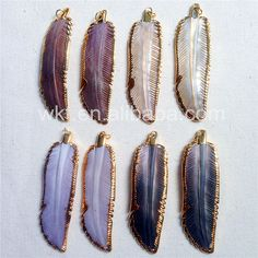 WT-P763 Natural Abalone shell feather pendant Gold dipped pendant shell jewelry mixed color feather shell pendants #Affiliate