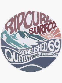 'Rip curl surf vintage' Sticker by Lauren Alexander Surf Stickers, Brand Stickers, Retro Surf, Vintage Surf, Rip Curl, Logo Sticker, Sticker Design, Surf Design, Logo Design