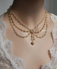 Bridal Necklace Swarovski Crystals ,Ivory Pearls, Vintage, Art Deco, Rhinestone And Pearls, Wedding Jewelry, Victorian, Lacey Collection. $199.00, via Etsy.