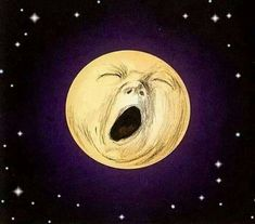 """Yawning moon illustration by Jef Murray from the book """"Black & White Ogre Country"""" by Hilary Tolkien Art And Illustration, Illustrations, Moon Shadow, Sun Moon Stars, Sun And Stars, Moon Pictures, Paper Moon, Good Night Moon, Night Stars"""