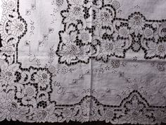 4880, Antique fine Linen cutwork embroidered tablecloths 54 x 72 inch
