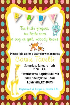Gender Unknown Baby Shower Invitation in 4x6 - Fisher Price theme If you wish to order this or any other invitation, please email me at aswiney01@yahoo.com or click on the image to visit my facebook page. Be sure to follow this board to see other designs.