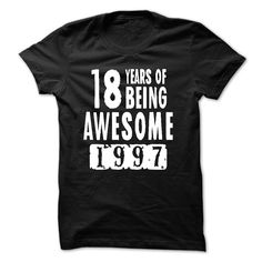 Made in 1997 18 Years Of Being Awesome T-Shirts, Hoodies. BUY IT NOW ==► https://www.sunfrog.com/LifeStyle/1997--18-Years-Of-Being-Awesome.html?id=41382