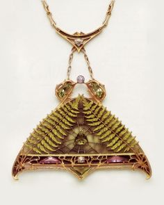 LUCIEN GAUTRAIT | Art Nouveau Pendant. Gold, enamel, diamonds, precious stones (n.d.)