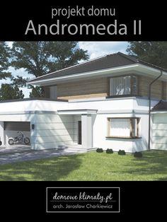 Projekt małego, nowoczesnego domu piętrowego. Sylwetkę budynku tworzy kompozycja trzech prostopadłościennych brył zwieńczonych prostym dachem. Wdzięku i lekkości nadają mu zróżnicowane wykończenia ścian parteru i piętra Warto zwrócić uwagę na duży salon i atrakcyjnie wkomponowaną jadalnię, częściowo wysuniętą poza obrys budynku przeszklonym wykuszem. Wyjścia do ogrodu osłonięte są okapami dachu. House Plans, Garage Doors, Outdoor Structures, Architecture, Outdoor Decor, Houses, Home Decor, New Houses, House