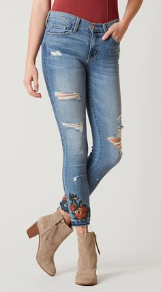 Embroidered Destructed Jeans : Flying Monkey Midrise Stretch Jean | Buckle