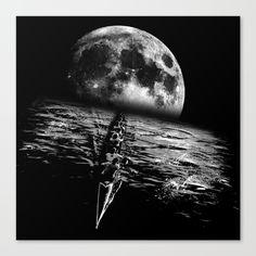 Paddling on a moonlit night Canvas Print