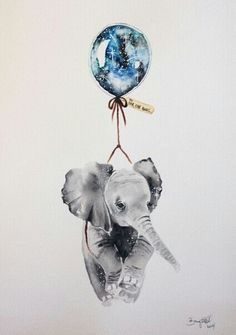 Print of an original illustration from my Far, Far Away series. This piece was initially created with watercolour and ink on Arches by? on Etsy (have others sim 4 artist name) ♥ Aquarell Tattoos, Elephant Love, Water Color Elephant, Elephant Balloon, Elephant Canvas, Elephant Outline, Flying Elephant, Elephant Nursery, Elephant Tattoos