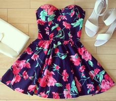 strapless floral skater dress - Google Search