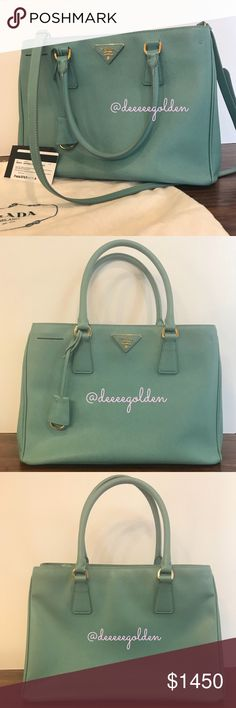 """// prada saffiano medium tote // Authentic Prada Saffiano Lux Tote  - Color:: Anice (Tiffany Blue) // BN1874  - Snap closure - Double top handles, 6"""" drop - Protective metal feet - One center zip compartment - Two inside zip pockets - One inside open pocket - Signature jacquard lining - Detachable shoulder strap - Like New Condition:: no rips, tears, stains, etc.  - Comes with: dustbag & authenticity card - Measurements:: 13""""W x 9.25""""H x 5.5""""D - Comes from a smoke & pet free environment…"""