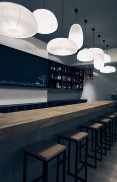 I don't really care for the modern take on this, but the long counter and multiple lighting idea is cool... And great for parties.