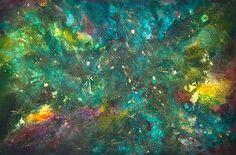 """opera astratta, titolo """"Essenze nel verde"""" sabbia, sassi, colori acrilici"""