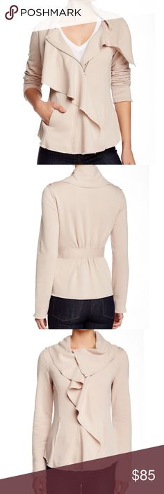 """Host Pick BNCI by Blanc Noir Jacket Draped fleece lined cardigan in clay polyester-rayon features a cascade collar, long sleeves, front zip closure, slash front pockets, can be worn different ways..Bust:38"""", waist:28"""" hips:38"""" Blanc Noir Jackets & Coats"""
