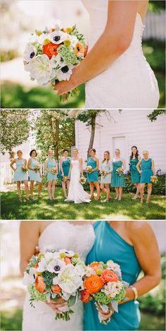 This whole wedding made me think of you! - orange and white bouquets with verying teal bridesmaid dresses