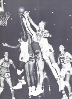 Texas - Oregon basketball game at McArthur Court in 1957. From the 1957 Oregana (University of Oregon yearbook). www.CampusAttic.com
