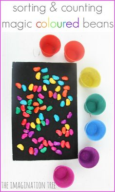Hoe to make magic coloured beans for counting and sorting play. Make some magic coloured beans as a great DIY resource for sorting, counting, imaginative play and storytelling! Counting Activities, Color Activities, Classroom Activities, Toddler Activities, Toddler Play, Classroom Setup, Math Classroom, Preschool Colors, Kindergarten Math