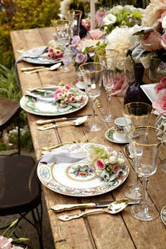 Vintage china, pastel blooms and an aged wood table gave this outdoor @Four Seasons Hotel Westlake Village meal a romantic, luxe tea-party vibe.