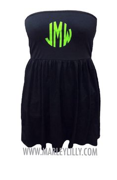 New Monogrammed Black Swimsuit Cover Up