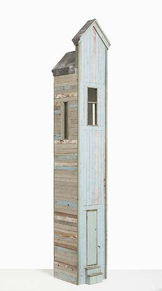 Alex Asch [Courtesy of Beaver Galleries]  Block Island 2014  recycled painted timber, lead, glass, printed paper 135 x 22 x 22cm